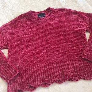 Cynthia Rowley Scallop Hem Chenille Sweater
